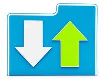Ícone de transferência e transferindo arquivos pela rede dos arquivos Fotografia de Stock Royalty Free