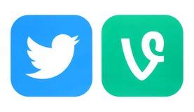 Ícone de Twitter e ícones da videira imagens de stock