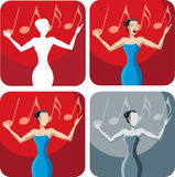 Ícone de um cantor Imagens de Stock Royalty Free