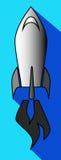 Ícone de um foguete do voo no céu azul Foto de Stock Royalty Free