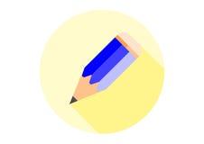 Ícone de um lápis em um projeto liso Foto de Stock Royalty Free