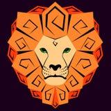 Ícone de um leão com uma juba dizzying ilustração stock