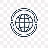 ícone de um vetor de 360 graus isolado no fundo transparente, linea ilustração stock