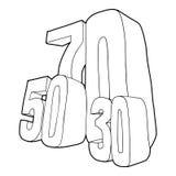 30, 50, ícone de uma venda de 70 por cento, estilo do esboço ilustração do vetor