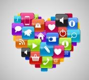 Ícone de vidro do botão ajustado no formulário do coração. Ilustração do vetor Fotos de Stock Royalty Free