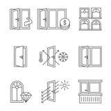 Ícone de Windows ajustado com porta e balcão Linhas projeto isolado no fundo branco ilustração do vetor