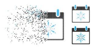 Ícone decomposto do dia de Dot Halftone Fireworks Boom Calendar ilustração stock