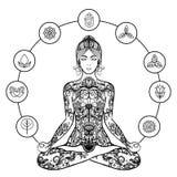 Ícone decorativo do preto da mulher da ioga dos lótus Fotos de Stock