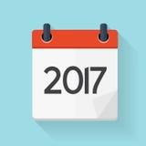 Ícone diário liso do calendário 2017 Emblema da ilustração do vetor Imagens de Stock