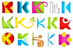 Ícone diferente com alfabeto K Foto de Stock
