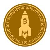 Ícone digital dourado da moeda de Rocket de espaço r símbolo liso amarelo do cryptocurrency da moeda do ouro Isolado no branco Fotografia de Stock