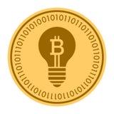 Ícone digital dourado do vetor da moeda da lâmpada da sugestão símbolo liso amarelo do cryptocurrency da moeda do ouro Isolado no Imagem de Stock