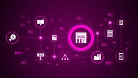 ícone direto da mensagem Do mercado de Digitas, grupo da promoção ilustração do vetor