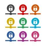 Ícone do acesso de dados ou logotipo, conceito da senha, grupo de cor ilustração stock