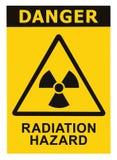 Ícone do alerta do radhaz do sinal do símbolo do perigo de radiação fotografia de stock
