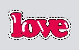 Ícone do amor com linha tracejada Inscrição romântica ilustração do vetor