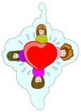 Ícone do amor da terra arrendada de quatro meninas Fotos de Stock Royalty Free