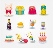 Ícone do aniversário dos desenhos animados Fotos de Stock