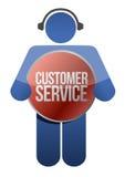 Ícone do apoio ao cliente com auscultadores Fotografia de Stock Royalty Free