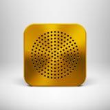 Ícone do App da tecnologia com textura do metal do ouro Ilustração Stock