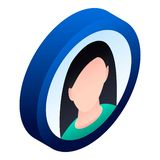 Ícone do avatar da mulher, estilo isométrico ilustração royalty free