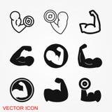 Ícone do bíceps, força de músculo ou ícone do vetor do poder ilustração royalty free