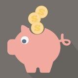 Ícone do banco Piggy Projeto liso Foto de Stock Royalty Free