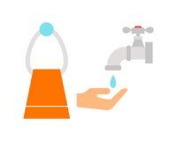 Ícone do banheiro colorido com a toalha de lavagem da beleza da limpeza da higiene do símbolo das economias da torneira de água d Imagem de Stock