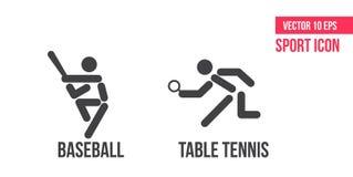 Ícone do basebol e tênis de mesa, ícone do pong do sibilo, logotipo Ajuste da linha ícones do vetor do esporte pictograma do atle ilustração royalty free