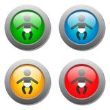 Ícone do bebê ajustado nos botões de vidro Fotos de Stock Royalty Free