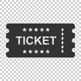 Ícone do bilhete do cinema no estilo liso Admita um vect da entrada do vale ilustração royalty free