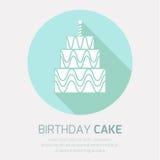 Ícone do bolo de aniversário com sombra longa, Fotos de Stock