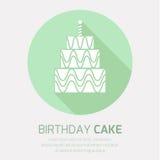 Ícone do bolo de aniversário com sombra longa, Foto de Stock