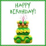 Ícone do bolo de aniversário do plasticine Fotografia de Stock