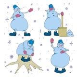 Ícone do boneco de neve colorido ilustração stock