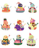 Ícone do boneco de neve dos desenhos animados Fotografia de Stock