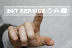 Ícone do botão do negócio 24 horas de serviço em linha Fotos de Stock
