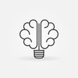 Ícone do bulbo do cérebro ilustração stock