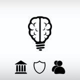 Ícone do cérebro da ampola, ilustração do vetor Estilo liso do projeto Foto de Stock Royalty Free