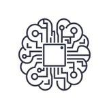 Ícone do cérebro da inteligência artificial - símbolo do conceito da tecnologia do AI do vetor, elemento do projeto imagens de stock
