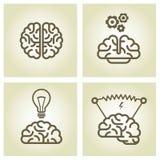 Ícone do cérebro - símbolos da invenção e da inspiração ilustração do vetor