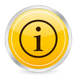 Ícone do círculo do amarelo do símbolo da informação Fotos de Stock Royalty Free