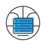 Ícone do córrego de dados com sinal empilhado dos servidores Fotos de Stock Royalty Free
