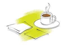 Ícone do café, desenho da carta branca Fotos de Stock