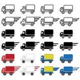 Ícone do caminhão de entrega em muitas variações Vetor EPS 10 Foto de Stock