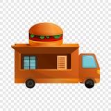 Ícone do caminhão do hamburguer, estilo dos desenhos animados ilustração stock