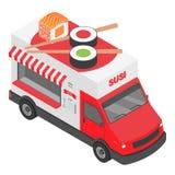 Ícone do caminhão do sushi, estilo isométrico ilustração stock