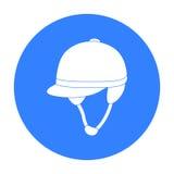 Ícone do capacete do ` s do jóquei no estilo preto isolado no fundo branco Ilustração do vetor do estoque do símbolo do hipódromo Fotos de Stock Royalty Free