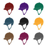 Ícone do capacete do jóquei s no estilo preto isolado no fundo branco Ilustração do vetor do estoque do símbolo do hipódromo e do Imagem de Stock