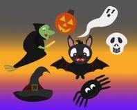 Ícone do caráter de Dia das Bruxas do divertimento/grupo de símbolo ilustração do vetor